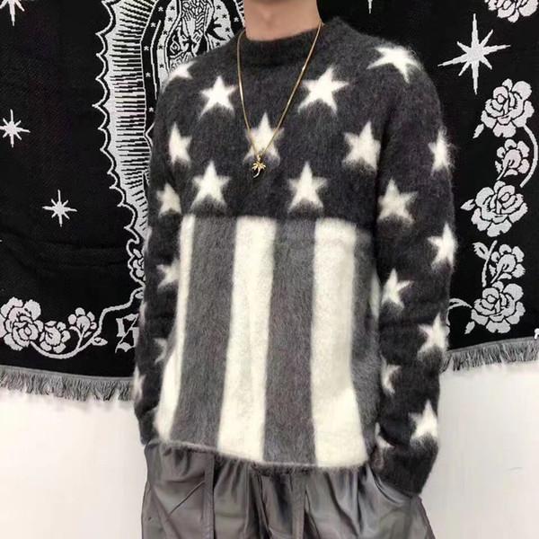 Best 19FW Vitttion Mohair Sweaters Pentagram Hip Hop Skateboard Sweaters Men Women Fashion Casual Coat HFLSMY057