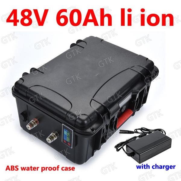GTK impermeable 48v 60Ah batería de litio li ion BMS para scooter 2000w 2500w inversores Carretilla elevadora Almacenamiento de energía solar + cargador 10A