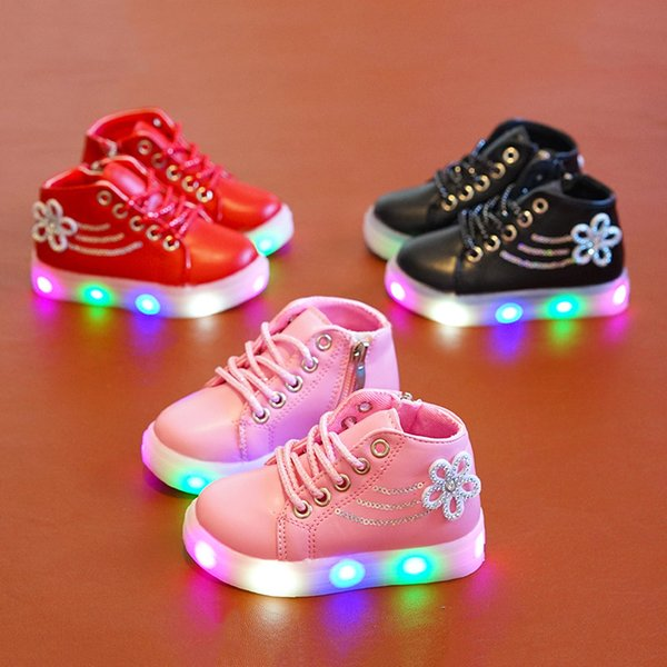 2019 Fashion casual kids shoes girls flower crystal spring autumn led light shoes children PU rubber lace up flash sneaker shoes US 5.5-12