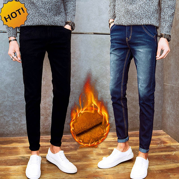 New 2017 winter thicken thelmal add wool Slim Fit Warm Jeans Men Pencil Pants Student teenager Men biker jeans 28-34