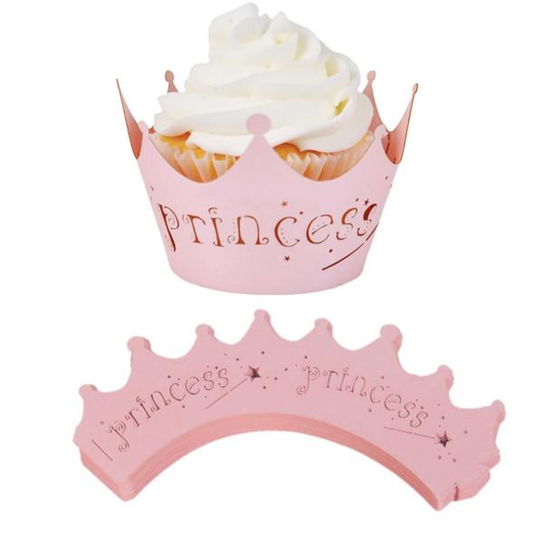 10 teile / paket Rosa Ausschnitt Prinzessin Pappbecher Geburtstagsfeier Kuchen Spitze Papier Laser Cut Feier Decor Wrapper Wraps Cupcake Fall