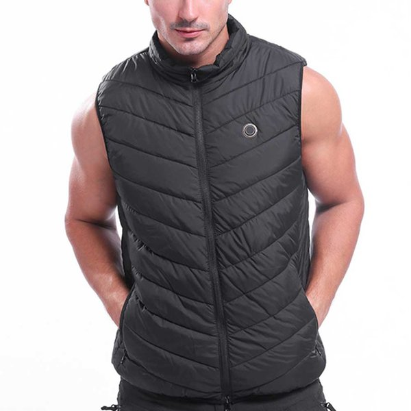 men women sleeveless temperature control flexible electric heating vest usb charging pain relief warm outdoor sports infrared, Gray;blue