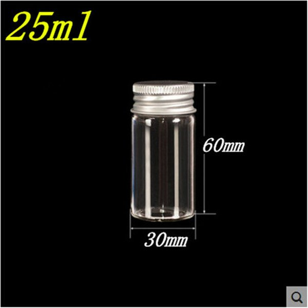 50 pcs 30x60 mm 25 ml Aluminum Screw Cap Glass Bottles Personal Care Olive Oil Jars Wishing Stars Vials Candy Jars