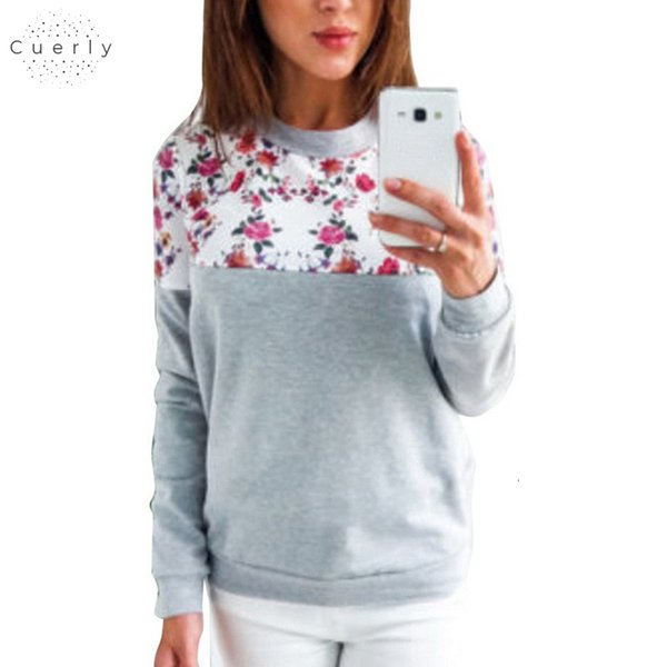 Floral Print Hoodies Women Pullovers 2019 Spring Casual Sweatshirt Jumper Thin Harajuku Tops Casual O Neck Tracksuit Plus Size Top