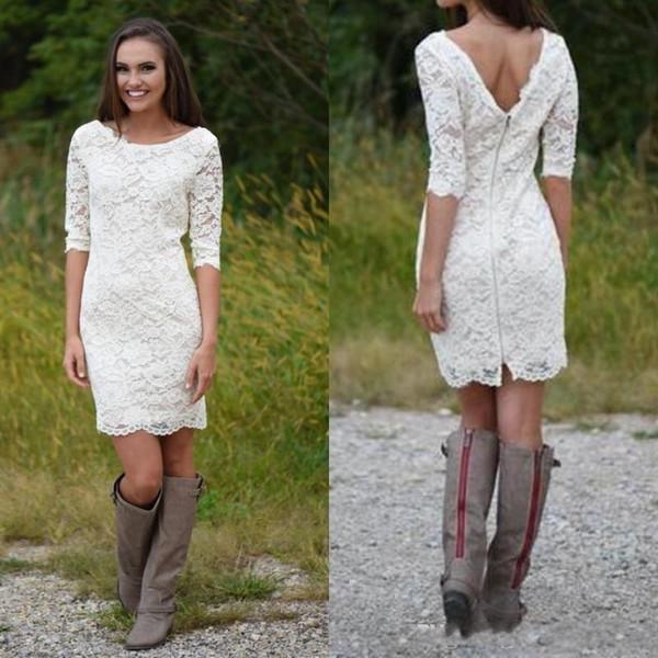 2018 Charming Short Country Wedding Dresses Half Sleeve Sheath Full Lace Beach Dress For Bridal Gowns Vestidos De Noiva Cheap Custom Made