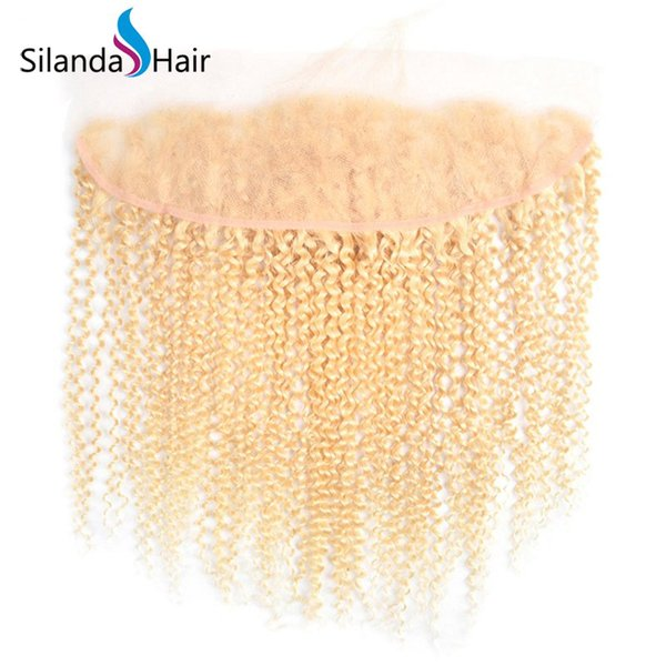 Silanda Hair 100 percent Real Kinky Curly Blonde #613 Remy Human Hair Lace Frontal Closure 13X4 Lace Frontals Free Shipping