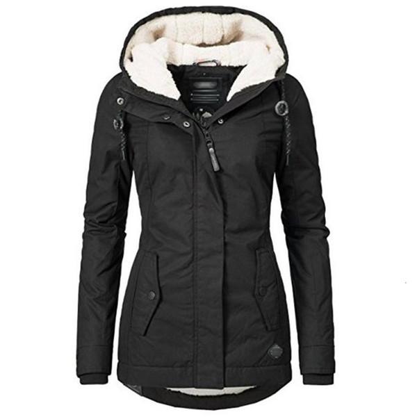Negro capas del algodón ocasional de las mujeres con capucha chaqueta de la capa de la manera simple Calle Delgado 2019 invierno caliente espesa básico Tops Mujer CJ1191111