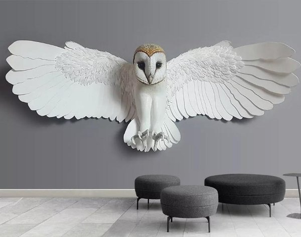 Custom Mural Wallpaper For Bedroom Walls 3D Luxury Embossed owl animal pattern TV sofa Background Wall Papers Home Decor Living Room