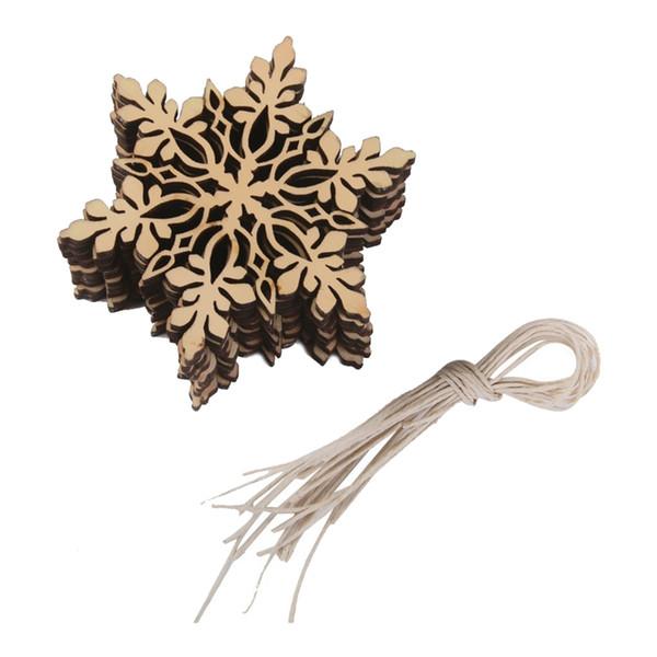 10 pezzi Sharp esagonale in legno ornamento fiocco di neve albero di Natale decorazioni W. String
