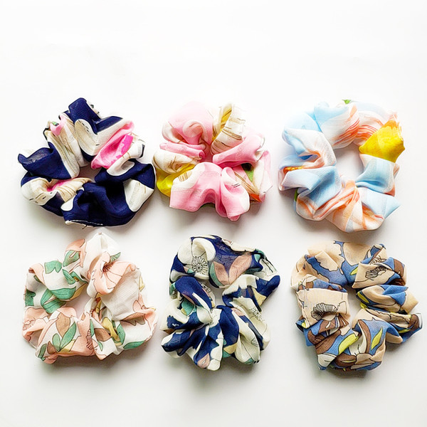 Hair Scrunchies Tie Accesories for Women Girl's Child Ponytail Holder Rope Flowers Hair scrunchie Hair bands Spring Headbands 50pcs FQ1016