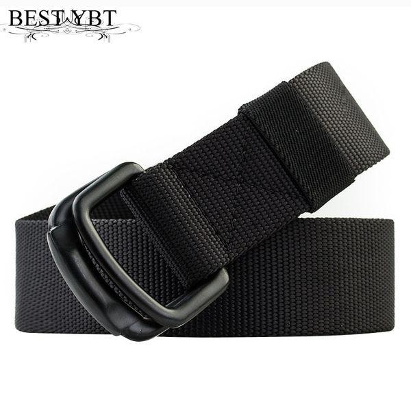 Best YBT Unisex Belt Nylon Alloy Double ring buckle Women Belt Cowboy Outdoor Sports Simple Fashion Casual High Quality Men