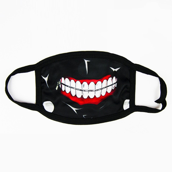 Horror Halloween Cosplay Masquerade Half Face Cotton Funny Warm Mouth Mask Anti Dust Comic Black Creative Masks