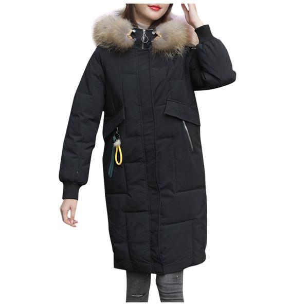 Acheter Mode D'hiver Vers Le Bas Parka Femmes Épais Manteau Chaud Vers Le Bas Grand Col De Fourrure De Raton Laveur À Capuchon Fermeture Éclair Longue