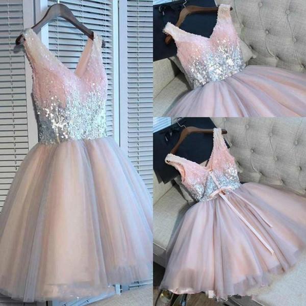 Дешевые короткие розовые платья возвращения на родину Блестки блестящие юниоры сладкие 15 выпускные платья коктейльные платья плюс размер