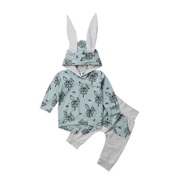 2018 Autumn Winter Newborn Baby Boy Girl Clothes Cartoon Rabbit Print Bunny Ear Hooded Jacket Tops+Long Pant 2PCS Baby