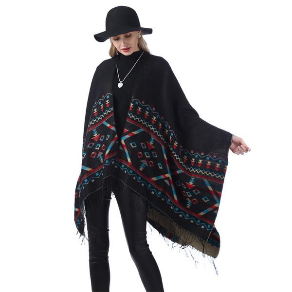 Femmes Surdimensionné Rayé Châle De Mode Plaid Chaud Foulard D'hiver Causal Dame Couverture Tricoter Style National Split Cape TTA1285