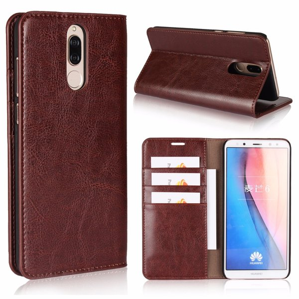 for huawei nova 2i case handmade Genuine leather 3in1 wallet case kickstand card slot book case dermis flip cover phone bag