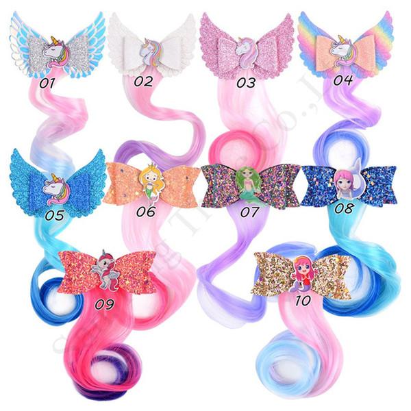 Compre Criancas Unicorn Glitter Colorido Peruca Braid Cabelo