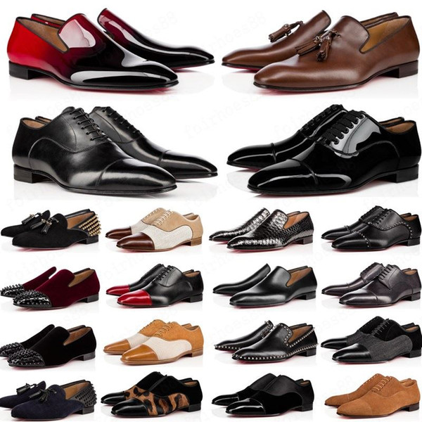 best selling NEW Luxury Mens Designer Dress Shoes Red Bottoms Casual Shoes Matt Patent Leather Round Toes Slip-on Spikes Flat Business Sneakers 38-47