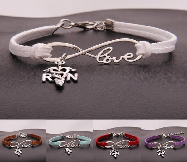 Infinity Love Nurse Bracelet Tibetan Silver Bangle RN Fashion Bangle PU Leather Bracelet Men Woman Charm Jewelry Handcraft Accessories