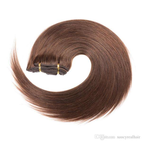 Brasileño Marrón Oscuro Color 2 # Seda Recta Clip de cabello humano en extensiones de cabello Sin procesar La belleza teje 70g 120g 140g 160g para elegir