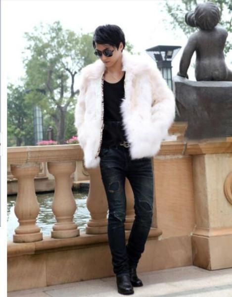 2019 tasarımcı Moda Faux Kürk Erkek Kat Kabanlar Uzun Kollu Kış Fox Kürk Palto Sıcak İnsanın Dış Giyim Giyim Boyut S-3XL toptan Tops