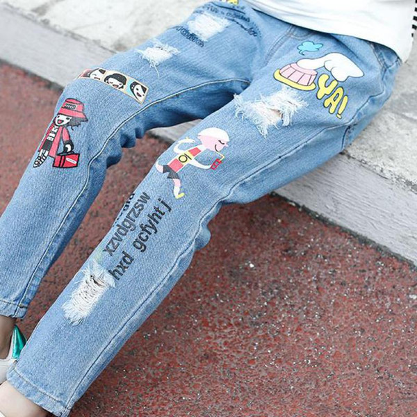 077ae7c17d510 2019 Toddler Girls Denim Pants Elastic Waist Baby Girls Fashion Jeans  Cartoon Infant Clothing Cute Baby Girl Jeans For Children Boys Skinny Jean  ...