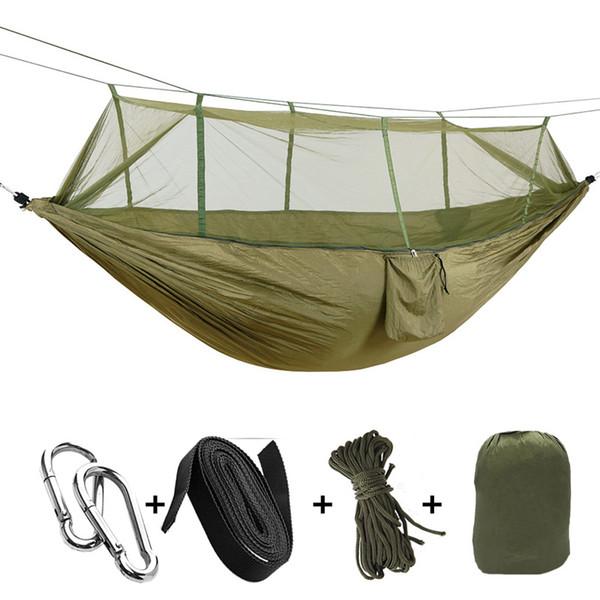 1-2 Personen tragbare Outdoor Camping Hängematte mit Moskitonetz hochfesten Fallschirm Stoff hängenden Bett Jagd Schlaf Schaukel