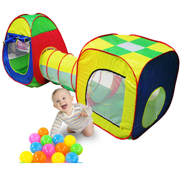 3pc Pop-up Tunnel Kids Play Tent Tunnel Kids Adventure House Toy Ball Pool Toys For Children