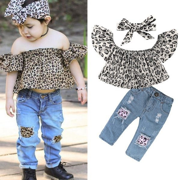 Baby Girls Clothes Sets Kids Leopard Tops Jeans Headband 3pcs Set Off Shoulder Girl Outfits Summer Kids Clothing DHW3136
