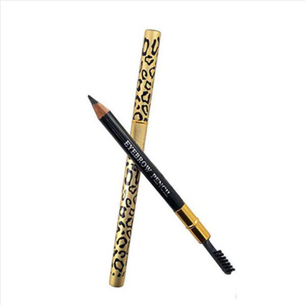 New leopard double head eyebrow eyeliner pen waterproof black brown grey pencil with bru h make up eyeliner 5 color