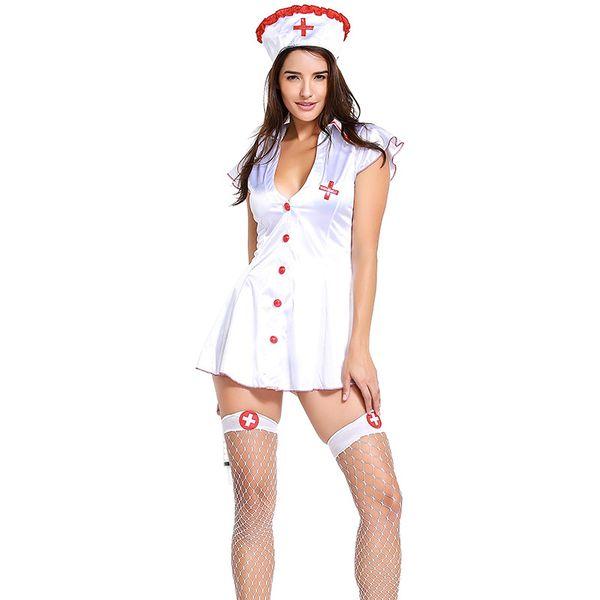 Sexy Cosplay Nurse Costumes Women Short Dress For Role-playing Games Erotic Deep V Dress Nurse Uniform Babydoll Sexy Underwear