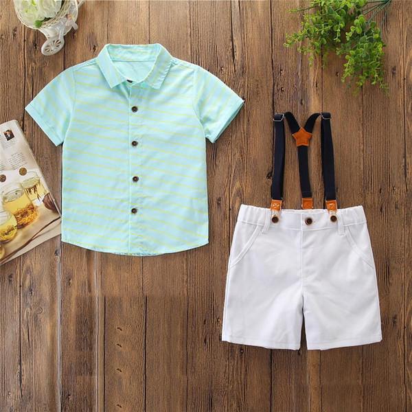 Çocuklar Çocuk Yaz Kıyafet Çocuk yeşil T-shirt + beyaz askı şort 3-8 T için 2 adet Giyim Seti 5 Boyutu
