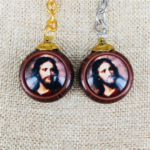 Doppelseitiger religiöser Jesus Anhänger Schlüsselanhänger Holzmaserung Anhänger Schlüsselanhänger Mix Design
