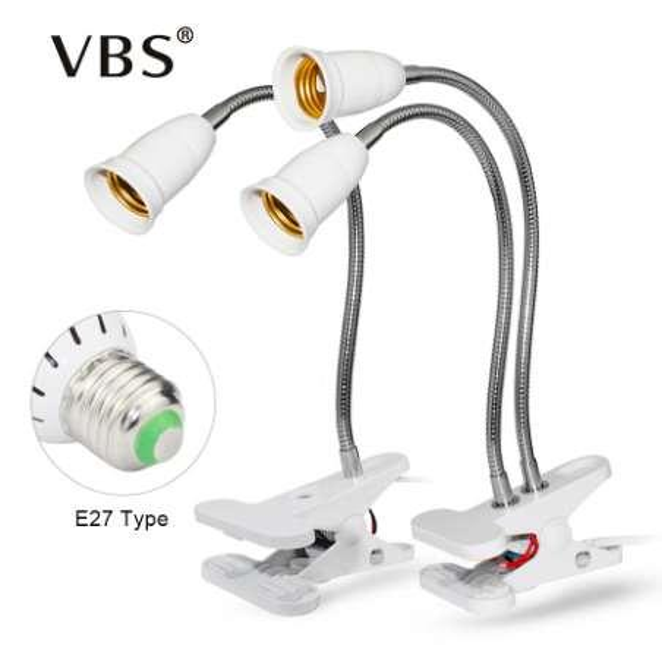 360 Derece Esnek Işık Tutucu Klip Ile Kapalı Anahtarı AB / ABD Plug E27 Led Büyümek Işık Bitki Çiçek Büyüme Masası Büyümek Için Lamba