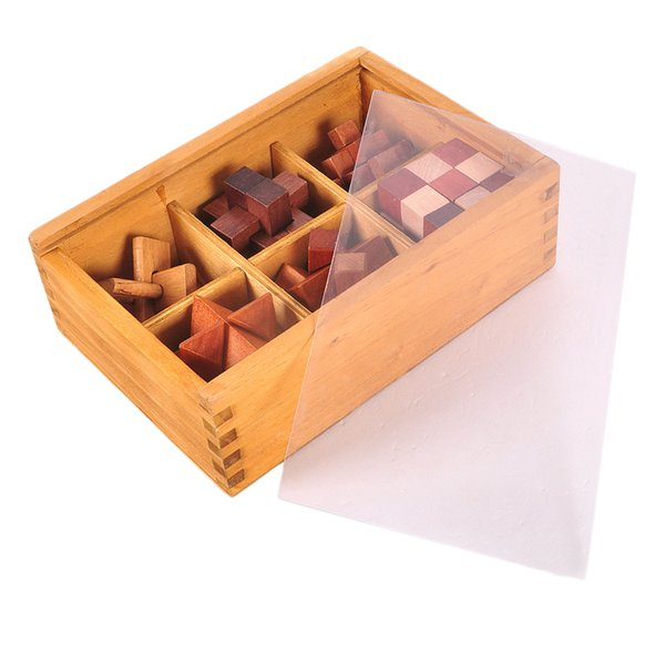 top popular 6-in-One 3D Wooden Brain Puzzle Teaser Kongming Lock for Teens and Adults Includes Storage Box 2021