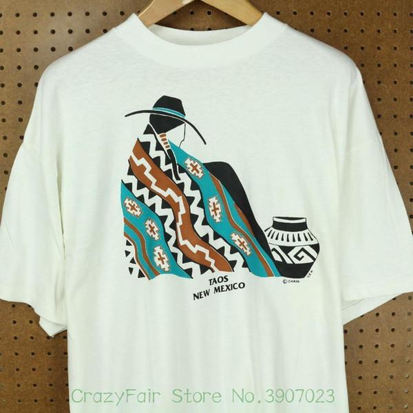 Nwot Vtg 90-х США сделал Таос Нью-Мексико турист футболка Xxl длинное тело Vaporwave моды для мужчин печатных футболки