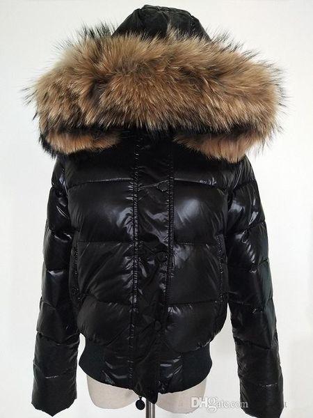 M mujer abajo engrosamiento de la chaqueta Corto abajo de parkas 100% de cuello de piel de mapache real capucha abajo abrigo Color negro / rojo