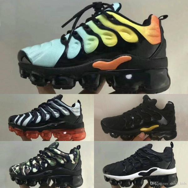 Großhandel 2018 Neue Plus Vm Schwarz Weiß Kinder Schuhe Turnschuhe Schuh Pack Dreibettzimmer Kinder Junge Und Mädchen Air Ultra Tn Laufschuhe Von