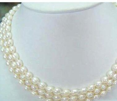 Fashion 3Rows 6-7mm White akoya cultured pearl Rice Beads necklace