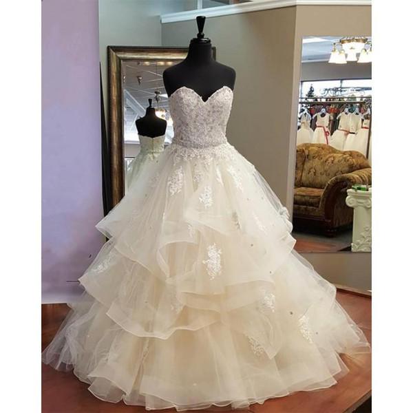 Nouvelle conception magnifique A-ligne de volants robes de mariée sweetheart bustier en cristal robes de mariée belles robes de mariée 100% de vraies photos