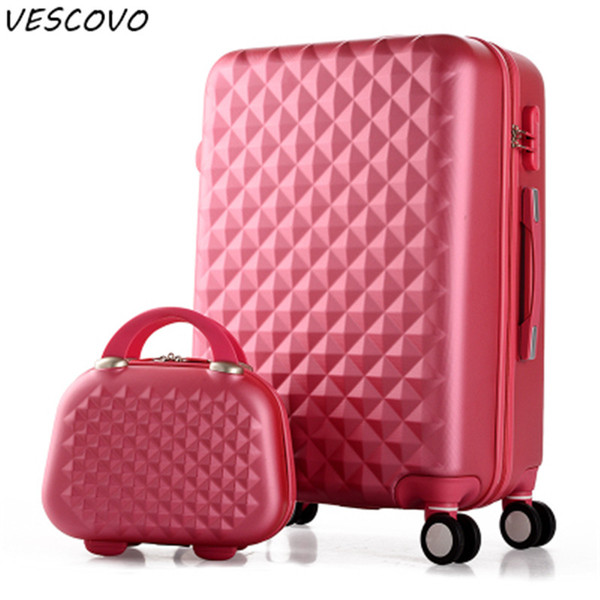 VESCOVO Korean Trolley Suitcase Small Fresh Women Travel Suitcase Set  202428inch ABS Rolling Luggage Spinner On Wheels Personalized Bags Buy Bags
