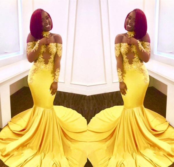 2019 Yellow African Mermaid Prom Dresses Black Girls Long Lace Off Shoulder Long Sleeves See Through Sweep Train Formal Evening Party Gowns