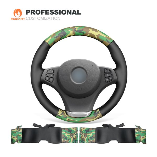 MEWANT Black Camouflage Artificial Leather Hand Sewn Steering Wheel Cover for BMW E83 X3 2003-2010 E53 X5 2004-2006