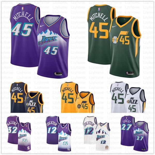 top popular Utah Donovan 45 Mitchell Jazzes Jersey Mike 10 Conley John Men's 12 Stockton Rudy 27 Gobert Karl 32 Malone Stitched Basketball Jerseys Fri 2019