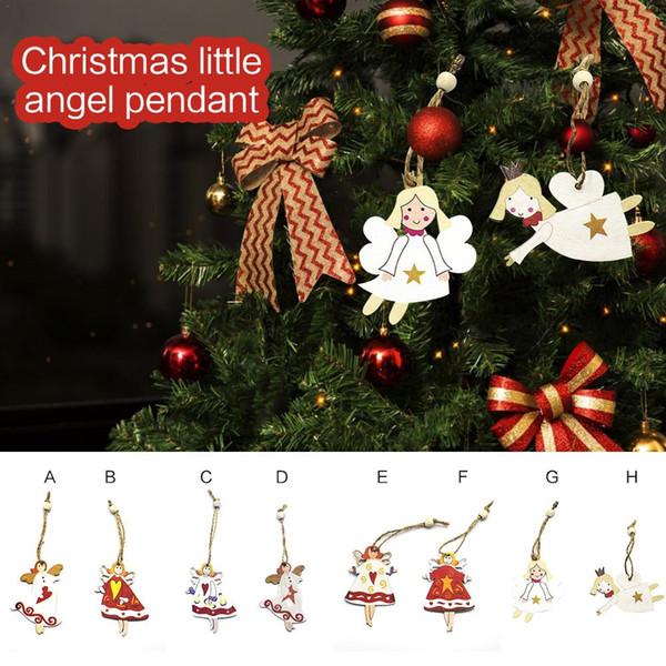 8pcs Mini Wooden Christmas Tree Ornaments Figures Advent Calendar Stuffers Fillers Hanging Vintage Miniature Decorations