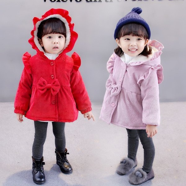 Sıcak Kış Çocuk Bebek Çocuk Kız Bebek Ruffles Kapşonlu Kadife Yay Parkas Ceket Kaban Hırka Dış Giyim Çocuklar Ceket Kızlar Için