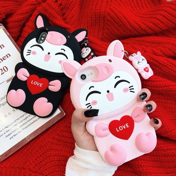 New Design For iPhone 8 Plus XR XS Max 3D Cute Cartoon Pig Cat Animal Soft Silicone Rubber Shockproof Protective Case Cover For iPhone 7 6