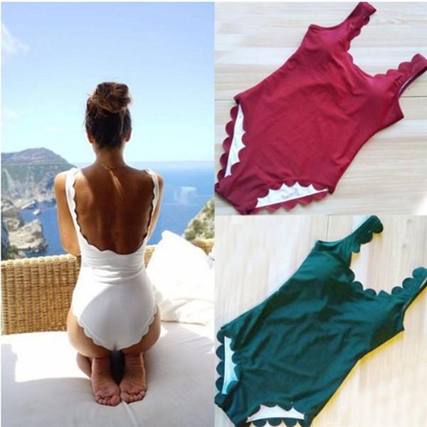 Новый женский сексуальный цельный пляжная одежда женская летняя волна форма широкий ремень купальник сплошной цвет