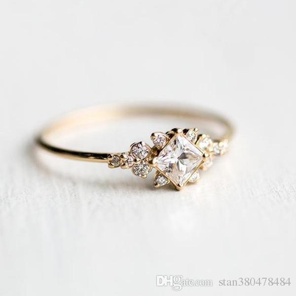 2018 nova incrustada de alta qualidade claro quadrado diamante anel de zircão Europeus e Americanos 14k ouro anel de noivado cauda